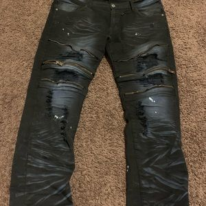 Black and Blue Designer patches jeans